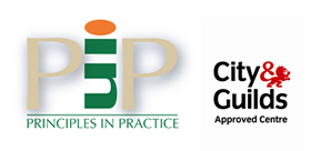 Principles in practice logo, Gity and Guilds approved Centre logo